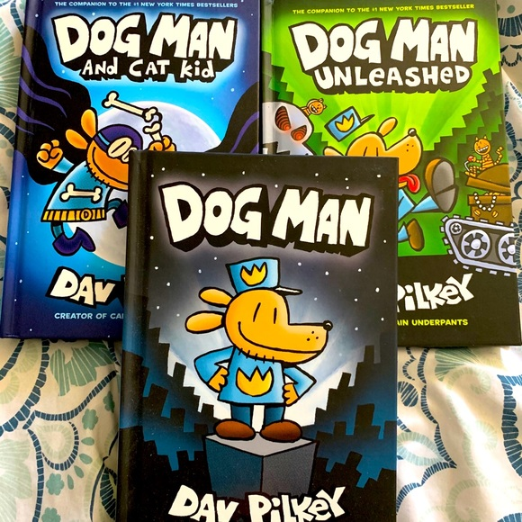Set of 3 Dog Man books by Dav Pilkey
